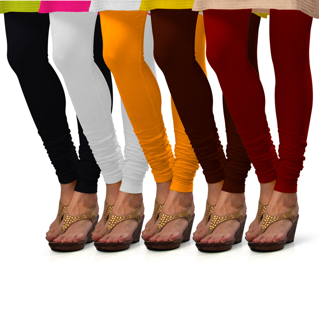 Sirtex Eazy Cotton Lycra Churidar Leggings (Pack of 5) : Black, White, Turmeric, M Brown & Maroon