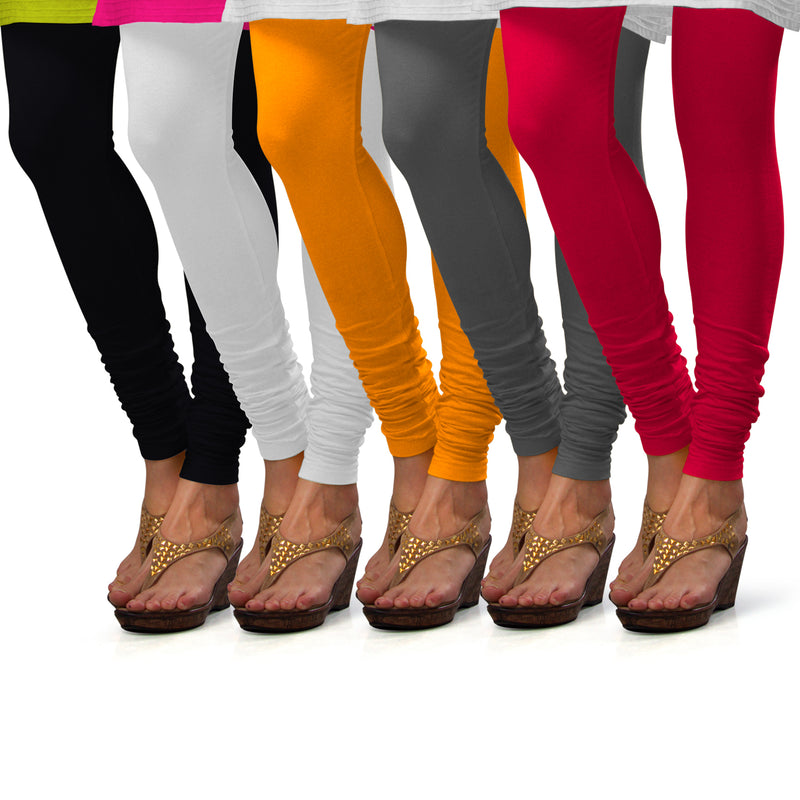 Sirtex Eazy Cotton Lycra Churidar Leggings (Pack of 5) : Black, White, Turmeric, Steel Grey & Bubble Gum