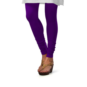 Sirtex Eazy Brinjal Cotton Lycra Churidar Leggings