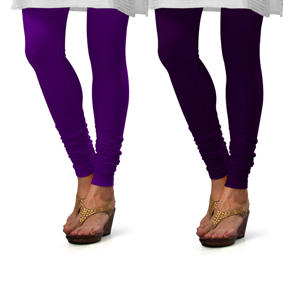 Sirtex Eazy Cotton Lycra Churidar Leggings (Pack of 2) : Brinjal & M Purple