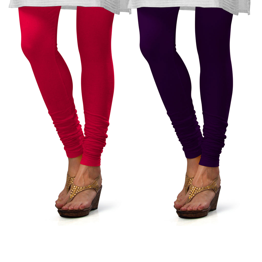 Sirtex Eazy Cotton Lycra Churidar Leggings (Pack of 2) : Bubble Gum & M Purple