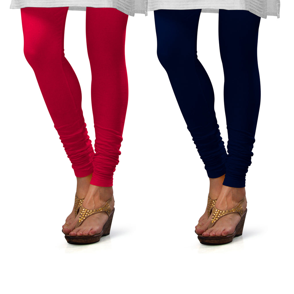 Sirtex Eazy Cotton Lycra Churidar Leggings (Pack of 2) : Bubble Gum & Navy Blue