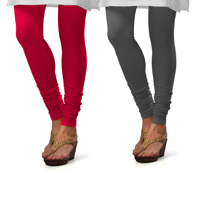 Sirtex Eazy Cotton Lycra Churidar Leggings (Pack of 2) : Bubble Gum & Steel Grey