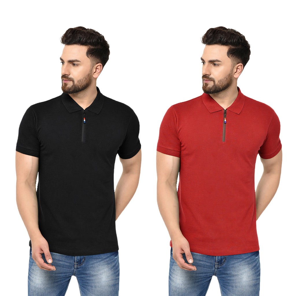 Eazy Men's Zipper Polo T-shirt ( Pack of 2) - Caviar Black & Bright Red