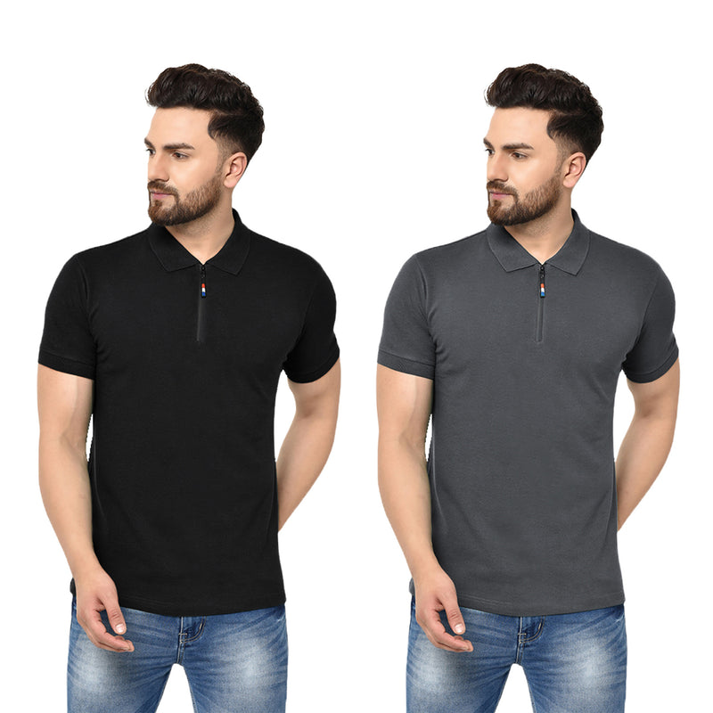 Eazy Men's Zipper Polo T-shirt ( Pack of 2) - Caviar Black & Grindle Black