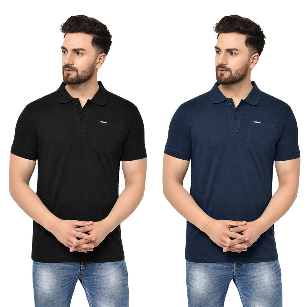Eazy Men's Pocket Polo T-shirt ( Pack of 2) - Caviar Black & Young Navy