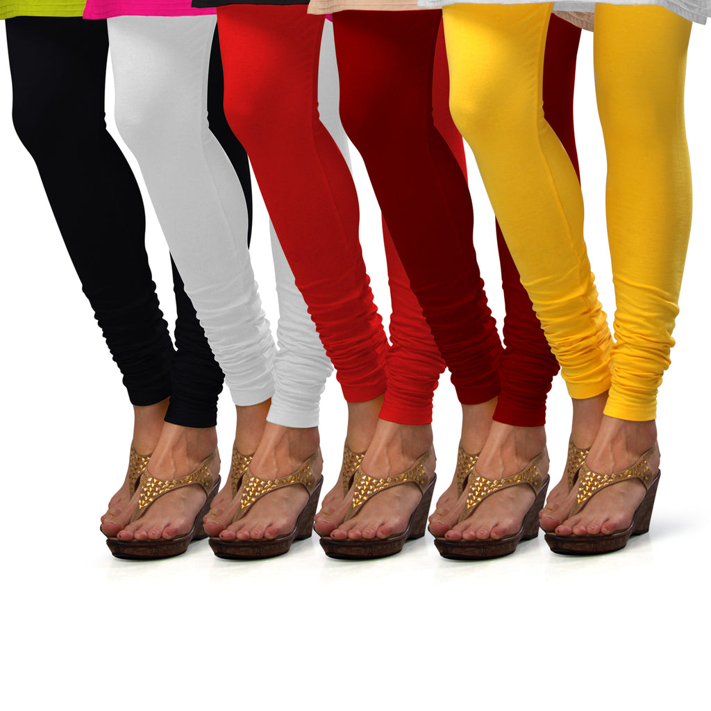Sirtex Eazy Cotton Lycra Churidar Leggings (Pack of 5) : Black, White, Red, Maroon & Yellow