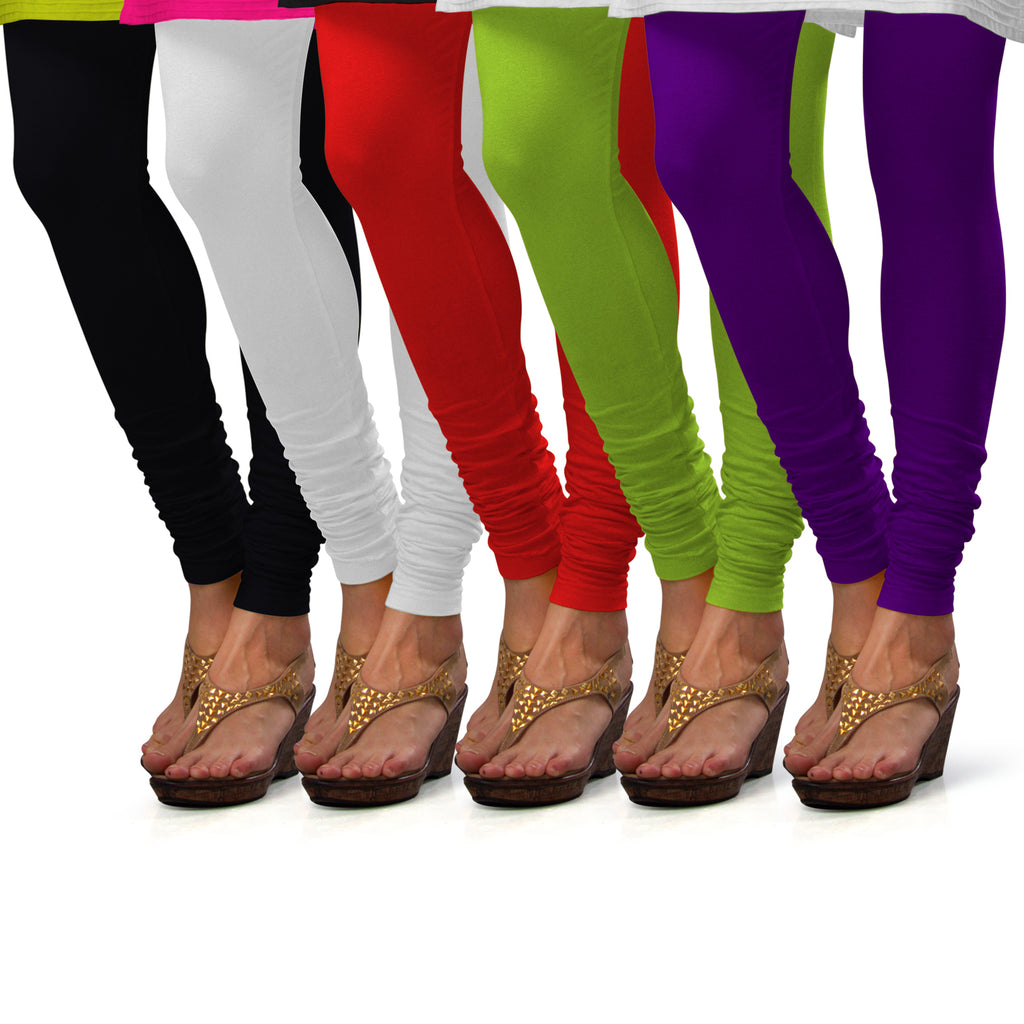 Sirtex Eazy Cotton Lycra Churidar Leggings (Pack of 5) : Black, White, Red, Parrot Green & Brinjal