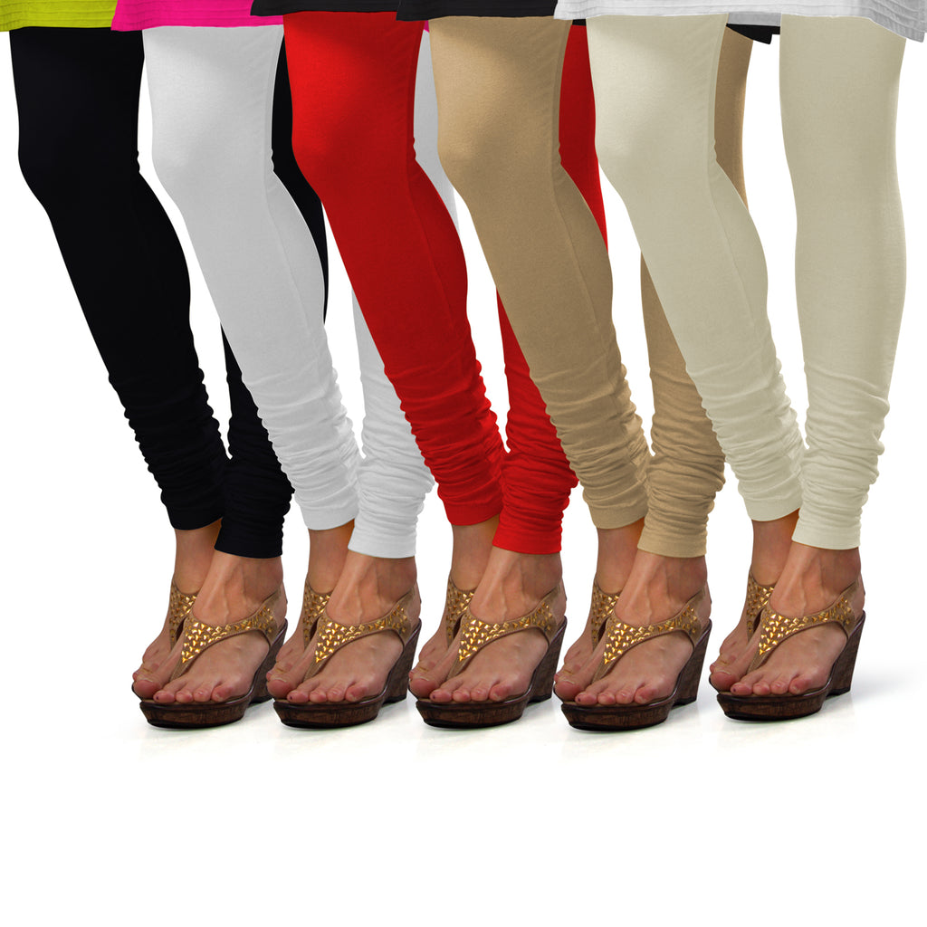 Sirtex Eazy Cotton Lycra Churidar Leggings (Pack of 5) : Black, White, Red, Skin & Off-White