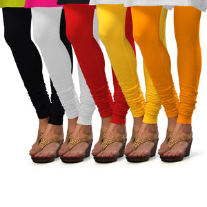 Sirtex Eazy Cotton Lycra Churidar Leggings (Pack of 5) : Black, White, Red, Yellow & Turmeric