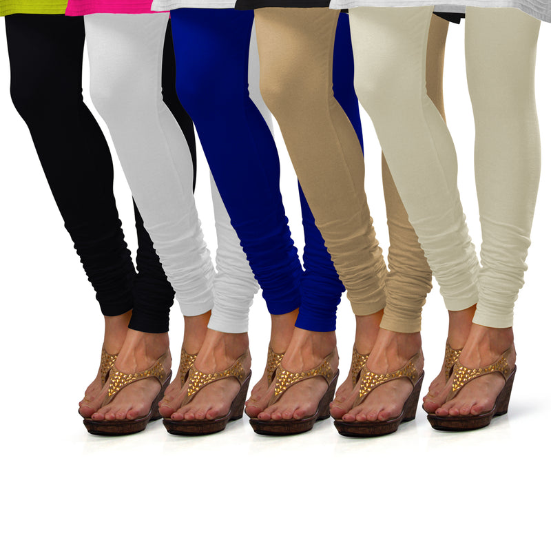 Sirtex Eazy Cotton Lycra Churidar Leggings (Pack of 5) : Black, White, Royal Blue, Skin & Off-White