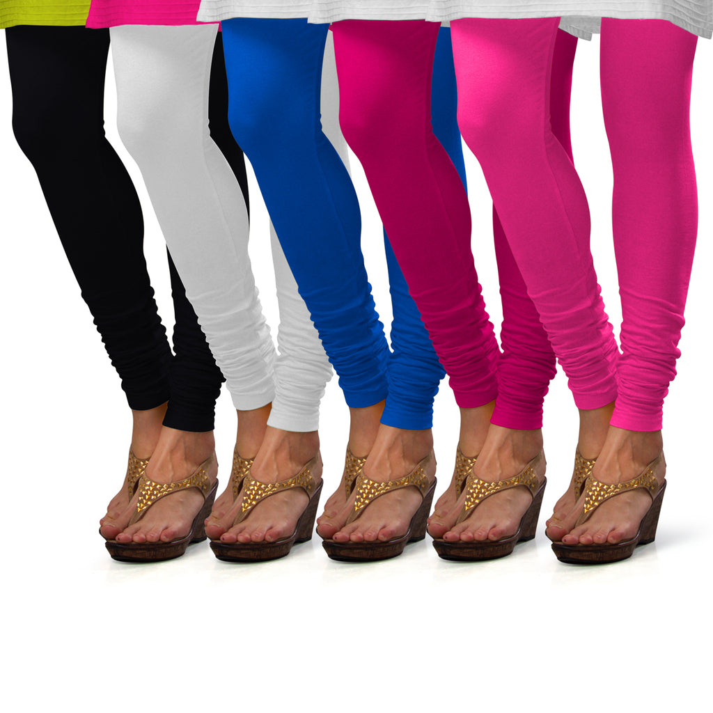 Sirtex Eazy Cotton Lycra Churidar Leggings (Pack of 5) : Black, White, T Blue, Rani & Romantic Rani