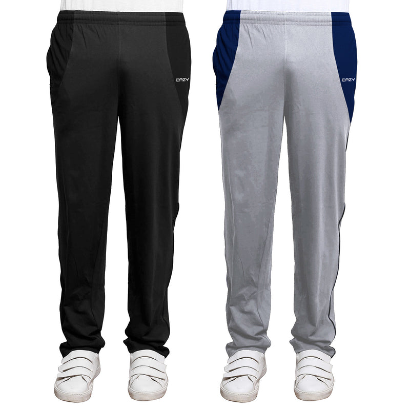 Sirtex Eazy Men's Cotton Blended Zipper Track Pants (Pack of 2) : Dark Grey Melange & Light Grey Melange