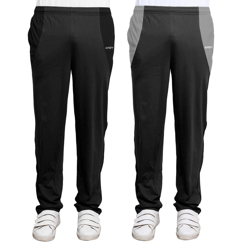 Sirtex Eazy Men's Cotton Blended Zipper Track Pants (Pack of 2) : Dark Grey Melange & Steel Grey