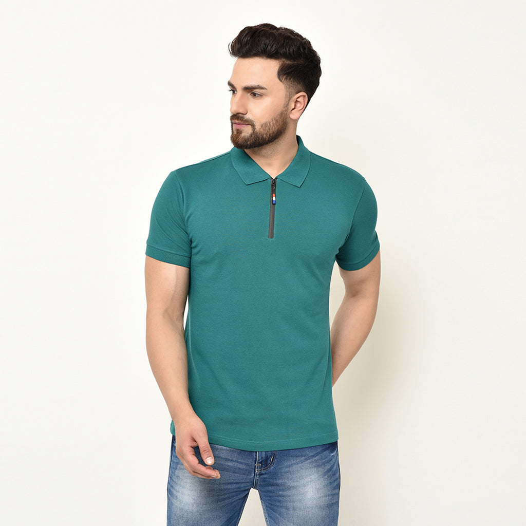 Eazy Men's Zipper Polo T-shirt ( Pack of 2) - Pepper Green & Ocean Blue