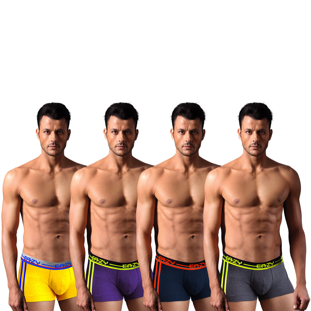 Sirtex Eazy Racer Galaxy Trunk (Pack of 4) : Dark Grey Melange, Indigo, Yellow & Navy Blue