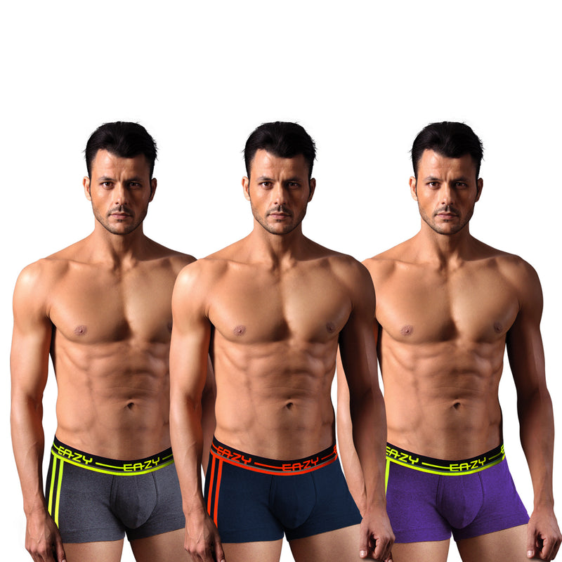 Sirtex Eazy Racer Galaxy Trunk (Pack of 3) :  Dark Grey Melange, Navy Blue & Indigo