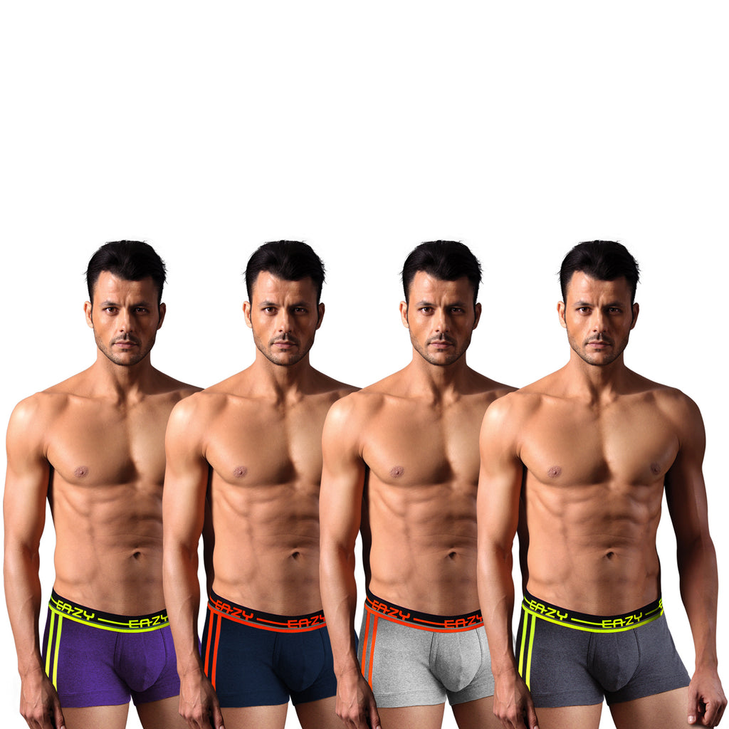 Sirtex Eazy Racer Galaxy Trunk (Pack of 4) : Light Grey Melange, Indigo, Yellow & Navy