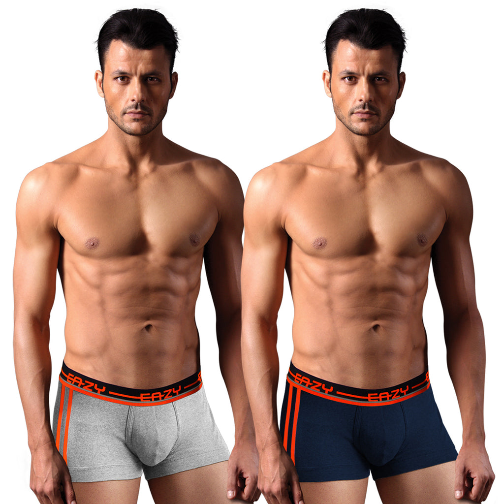 Sirtex Eazy Racer Galaxy Trunk (Pack of 2) : Light Grey Melange & Navy Blue