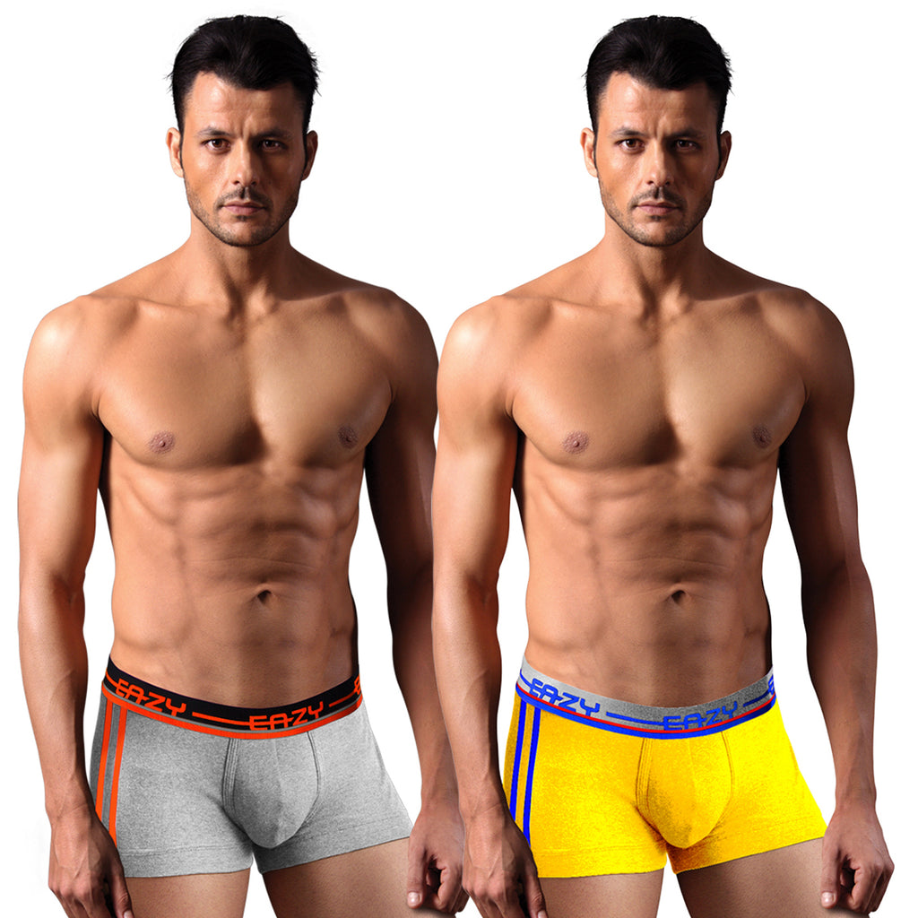 Sirtex Eazy Racer Galaxy Trunk (Pack of 2) : Light Grey Melange & Yellow
