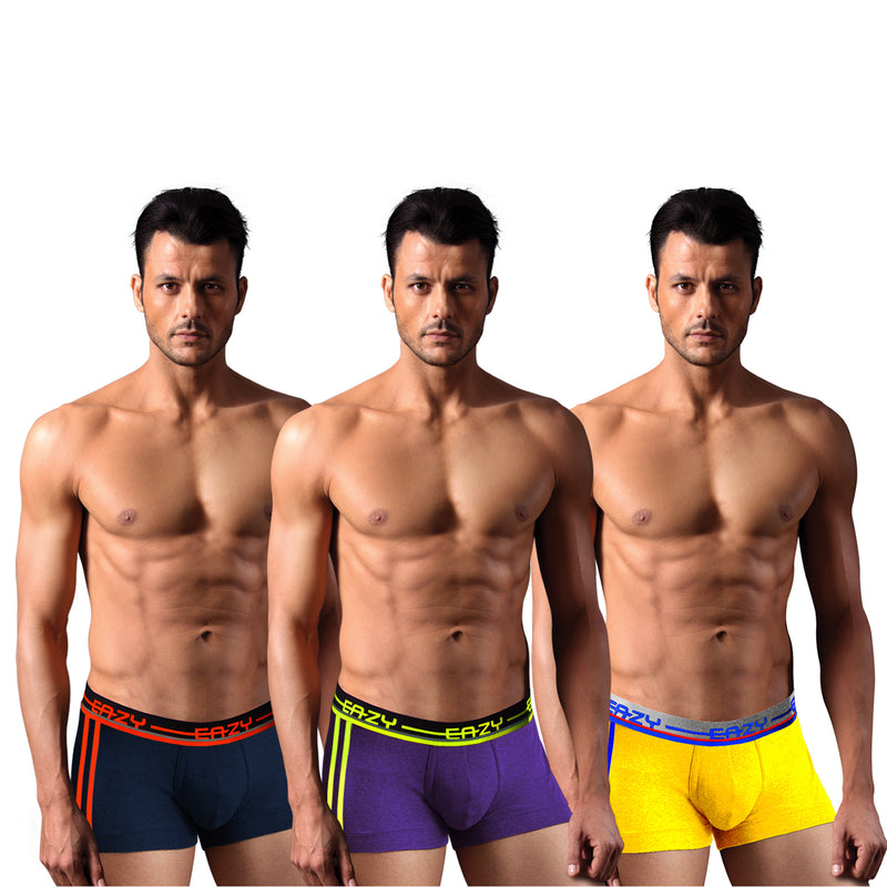 Sirtex Eazy Racer Galaxy Trunk (Pack of 3) : Navy Blue, Indigo & Yellow