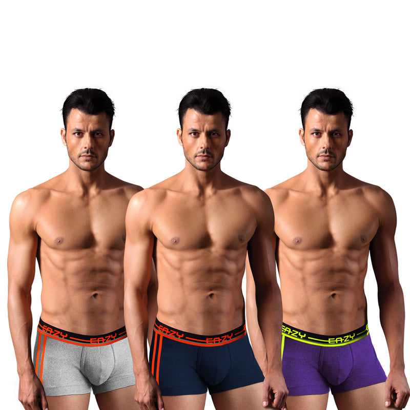 Sirtex Eazy Racer Galaxy Trunk (Pack of 3) : Light Grey Melange, Indigo & Navy Blue
