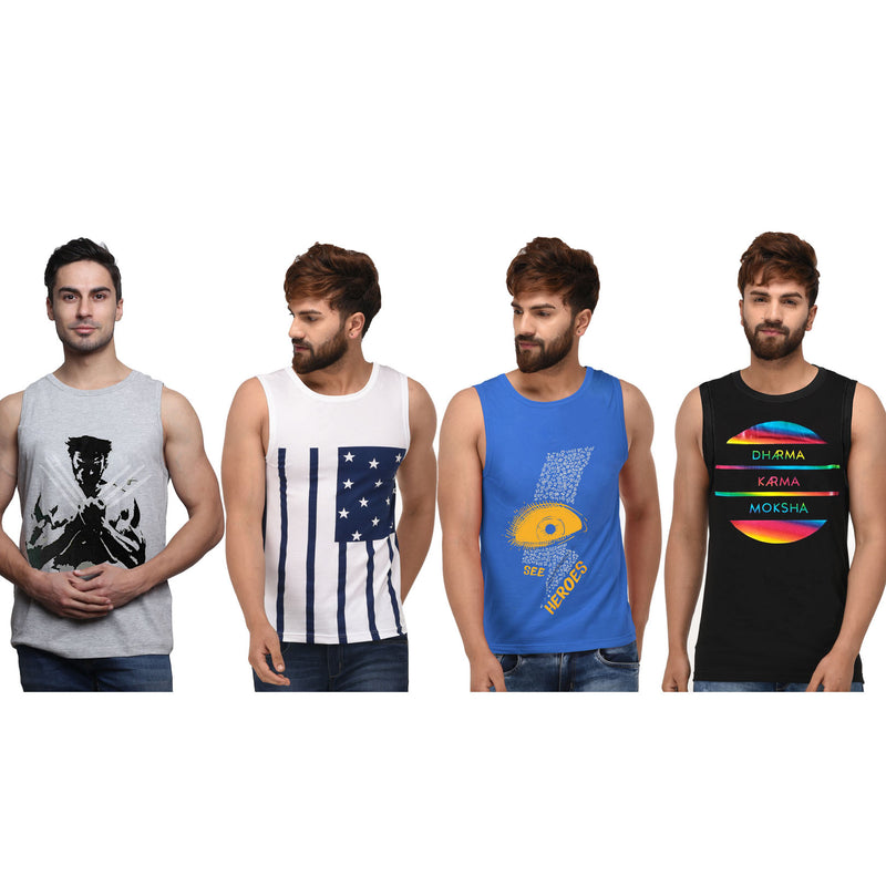 Sirtex Eazy Racer Printed Ribbed Vest  (Pack Of 4)