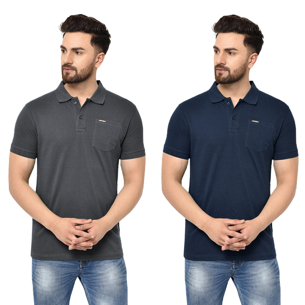 Eazy Men's Pocket Polo T-shirt ( Pack of 2) - Grindle Black & Young Navy