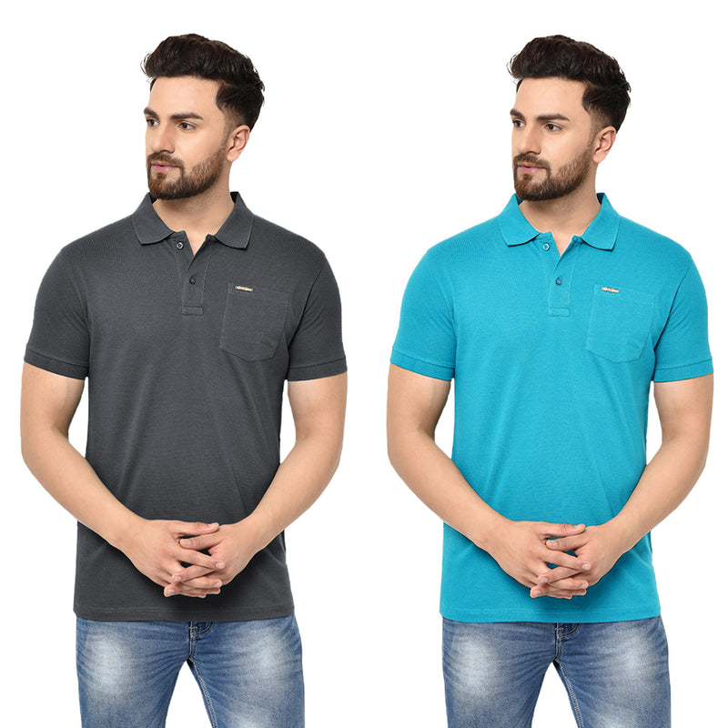 Eazy Men's Pocket Polo T-shirt ( Pack of 2) - Grindle Black & Ocean Blue