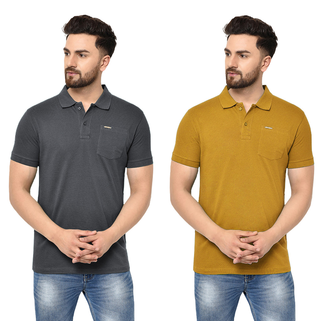 Eazy Men's Pocket Polo T-shirt ( Pack of 2) - Grindle Black & Vibrant Mustard