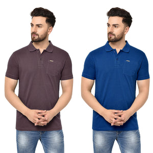 Eazy Men's Pocket Polo T-shirt ( Pack of 2) - Grindle Maroon & Royal Blue