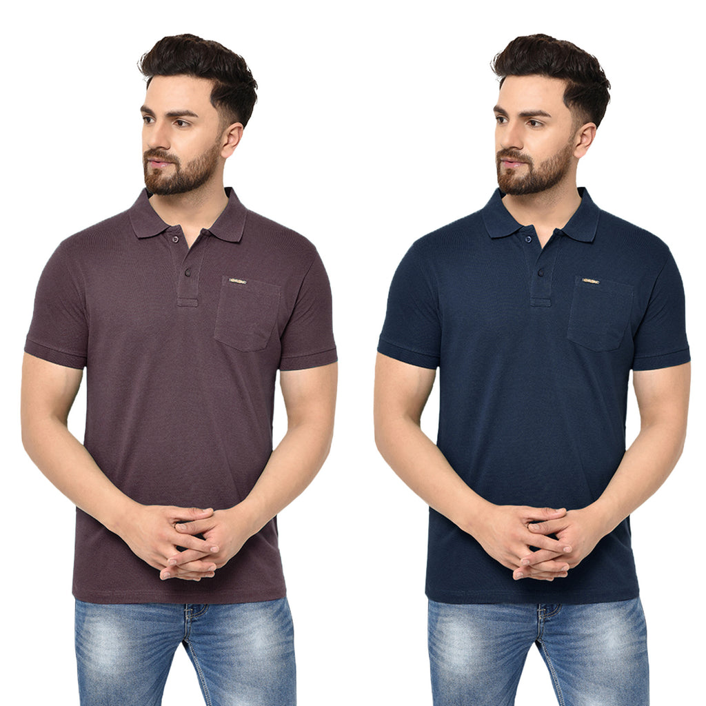 Eazy Men's Pocket Polo T-shirt ( Pack of 2) - Grindle Maroon & Young Navy