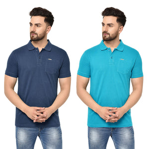 Eazy Men's Pocket Polo T-shirt ( Pack of 2) - Grindle Navy & Ocean Blue