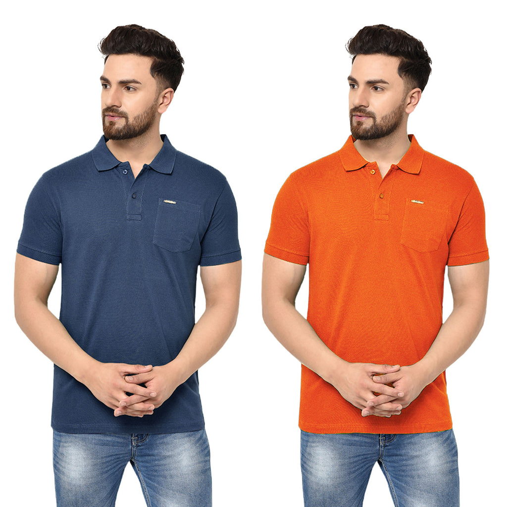 Eazy Men's Pocket Polo T-shirt ( Pack of 2) - Grindle Navy & Papaya Orange