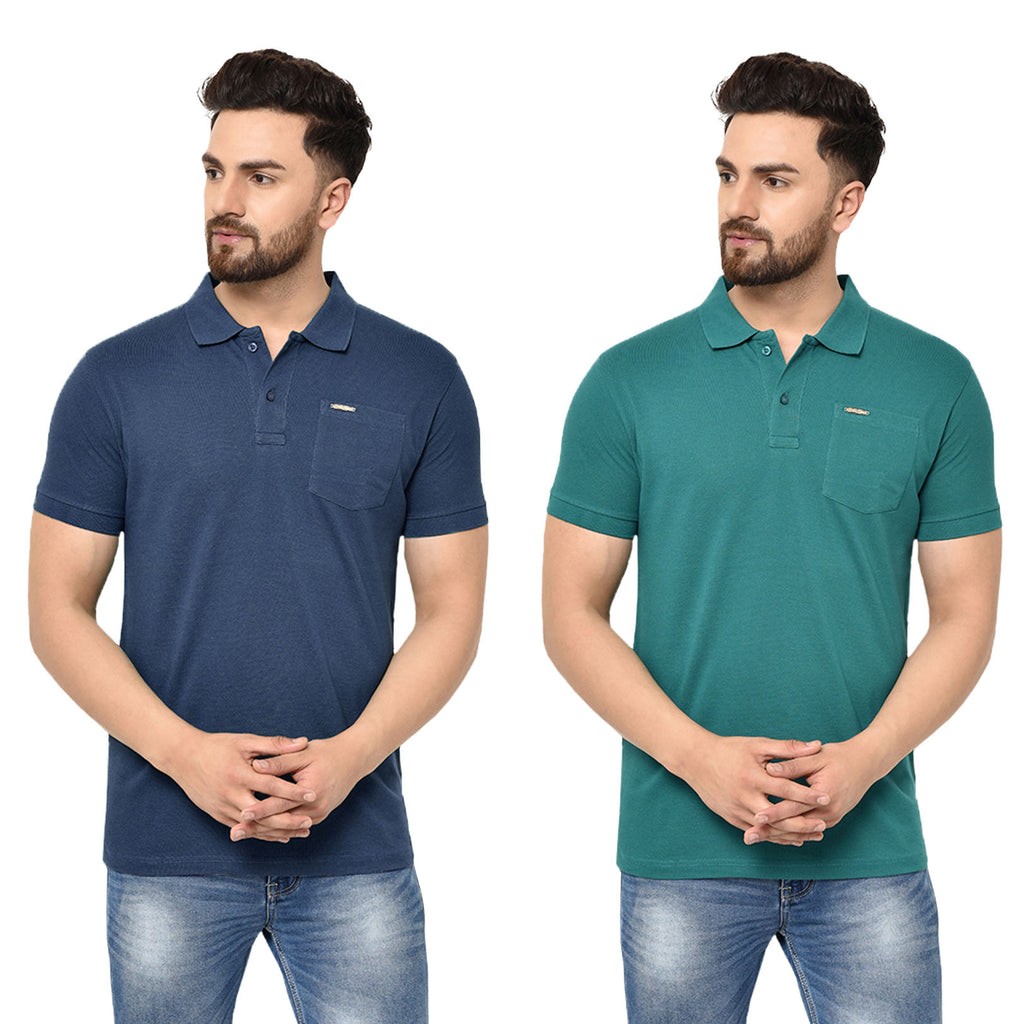 Eazy Men's Pocket Polo T-shirt ( Pack of 2) - Grindle Navy & Pepper Green