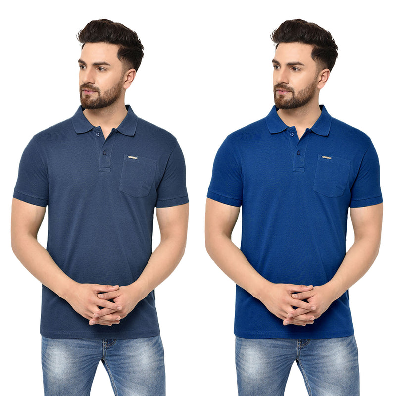 Eazy Men's Pocket Polo T-shirt ( Pack of 2) - Grindle Navy & Royal Blue