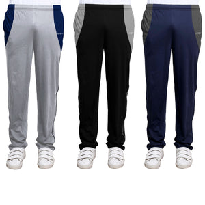 Sirtex Eazy Men's Cotton Blended Zipper Track Pants (Pack of 3) : Light Grey Melange, Black & Navy Blue