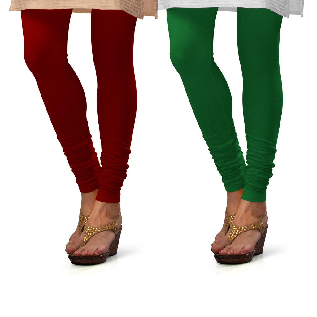 Sirtex Eazy Cotton Lycra Churidar Leggings (Pack of 2) : Maroon & Pak-Green