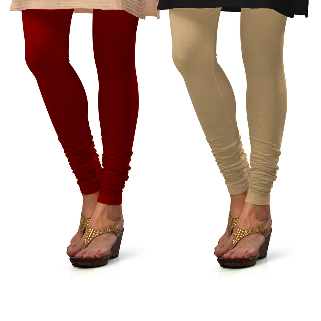 Sirtex Eazy Cotton Lycra Churidar Leggings (Pack of 2) : Maroon & Skin