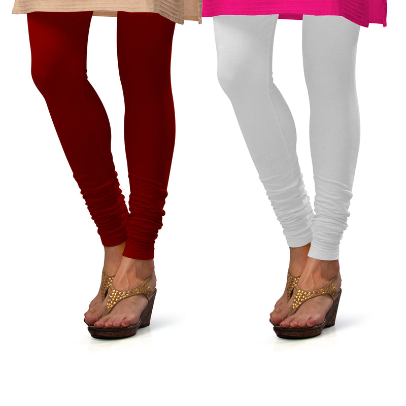Sirtex Eazy Cotton Lycra Churidar Leggings (Pack of 2) : Maroon & White