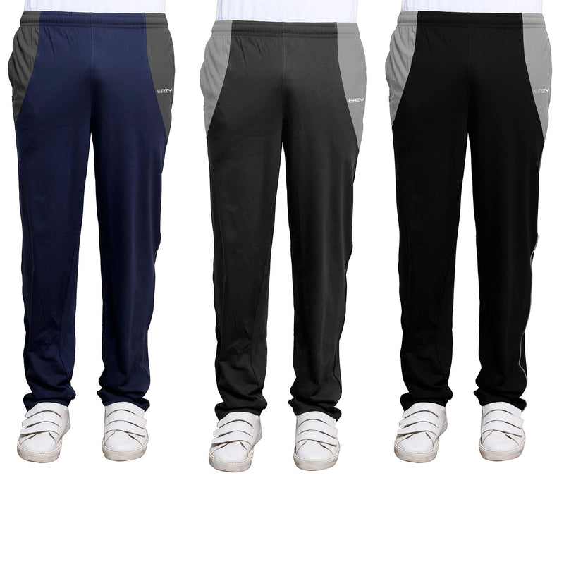 Sirtex Eazy Men's Cotton Blended Zipper Track Pants (Pack of 3) : Navy Blue, Steel Grey & Black