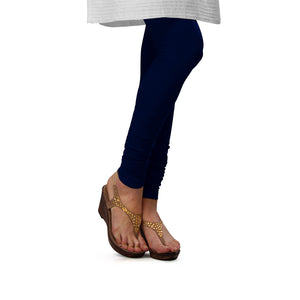 Sirtex Eazy Navy Blue Cotton Lycra Churidar Leggings