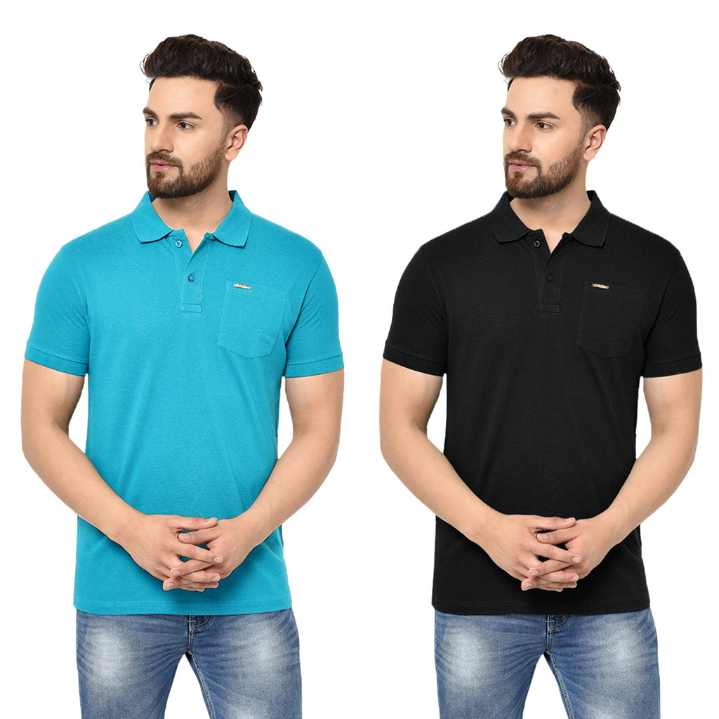 Eazy Men's Pocket Polo T-shirt ( Pack of 2) - Ocean Blue & Caviar Black