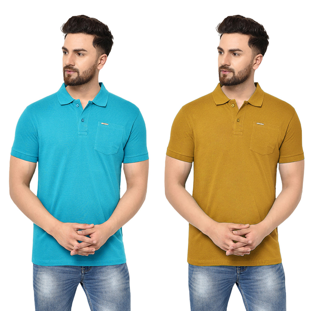 Eazy Men's Pocket Polo T-shirt ( Pack of 2) - Ocean Blue & Vibrant Mustard