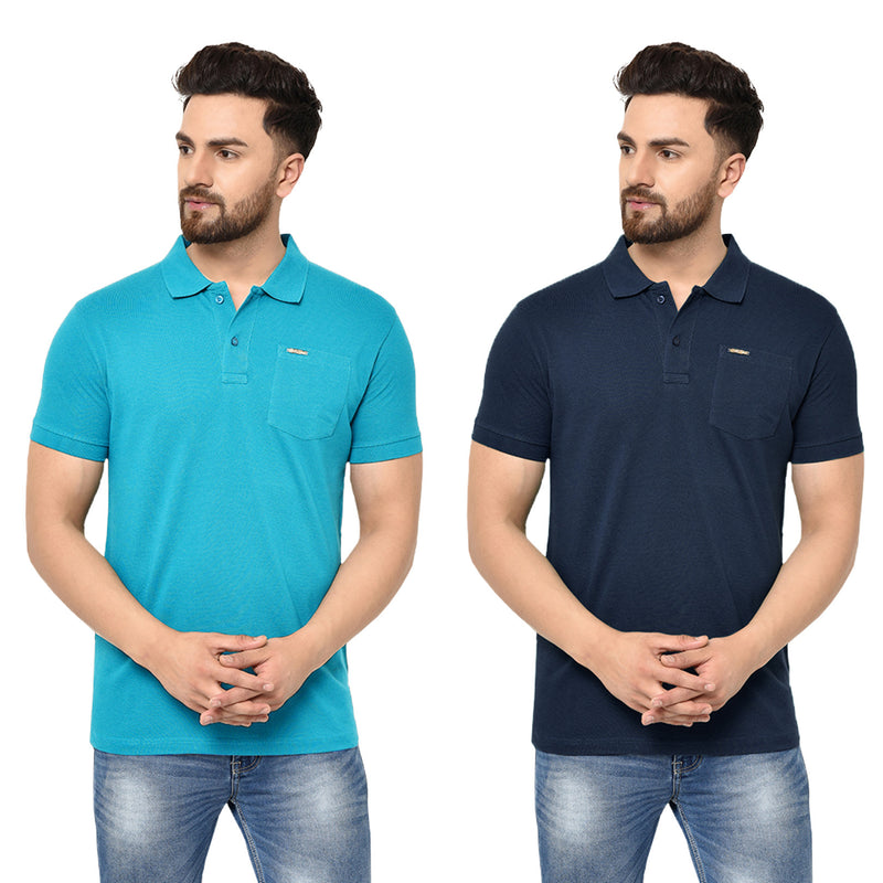 Eazy Men's Pocket Polo T-shirt ( Pack of 2) - Ocean Blue & Young Navy