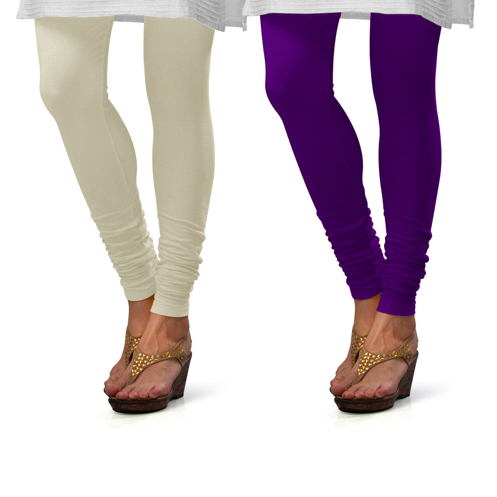 Sirtex Eazy Cotton Lycra Churidar Leggings (Pack of 2) : Off-White & Brinjal