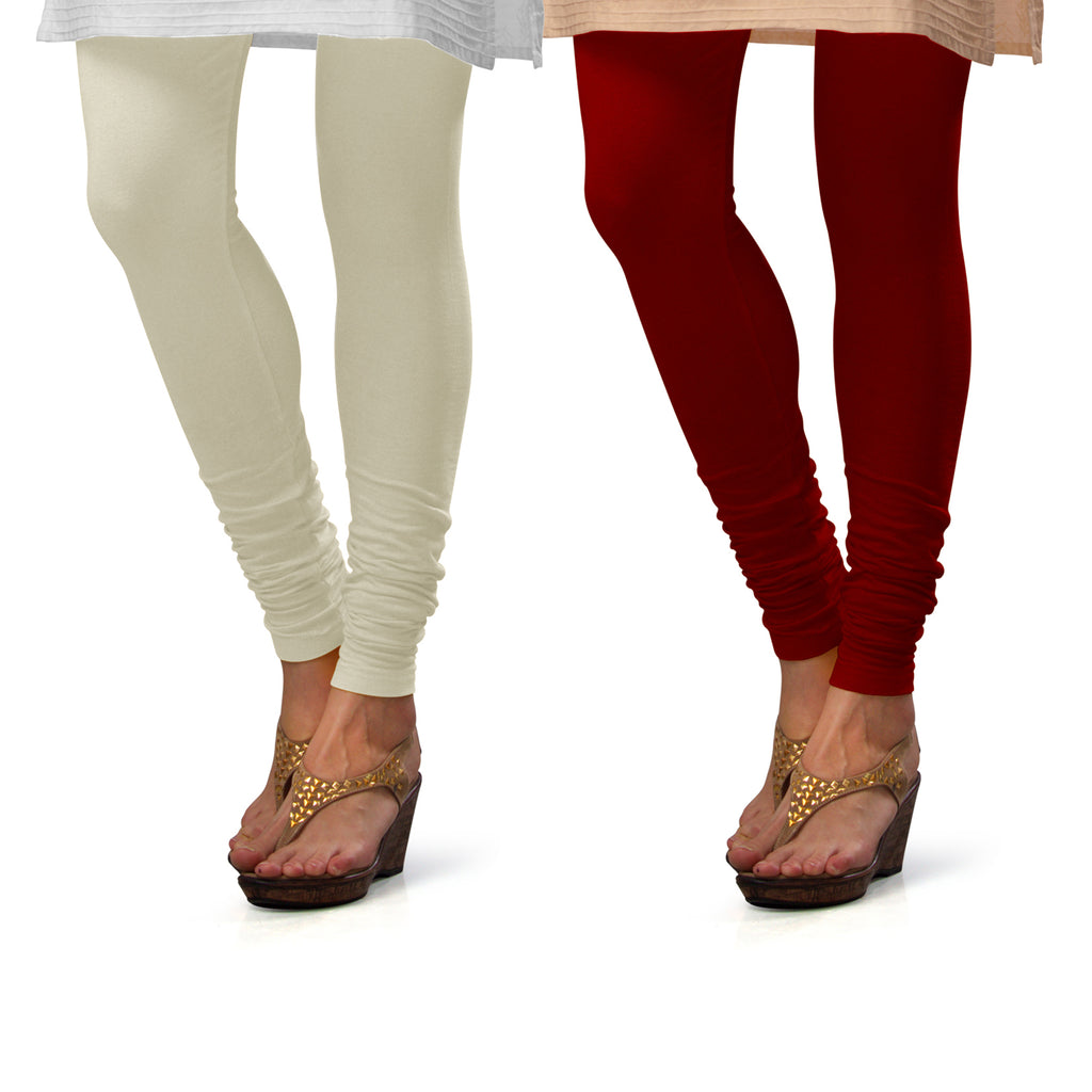 Sirtex Eazy Cotton Lycra Churidar Leggings (Pack of 2) : Off-White & Maroon