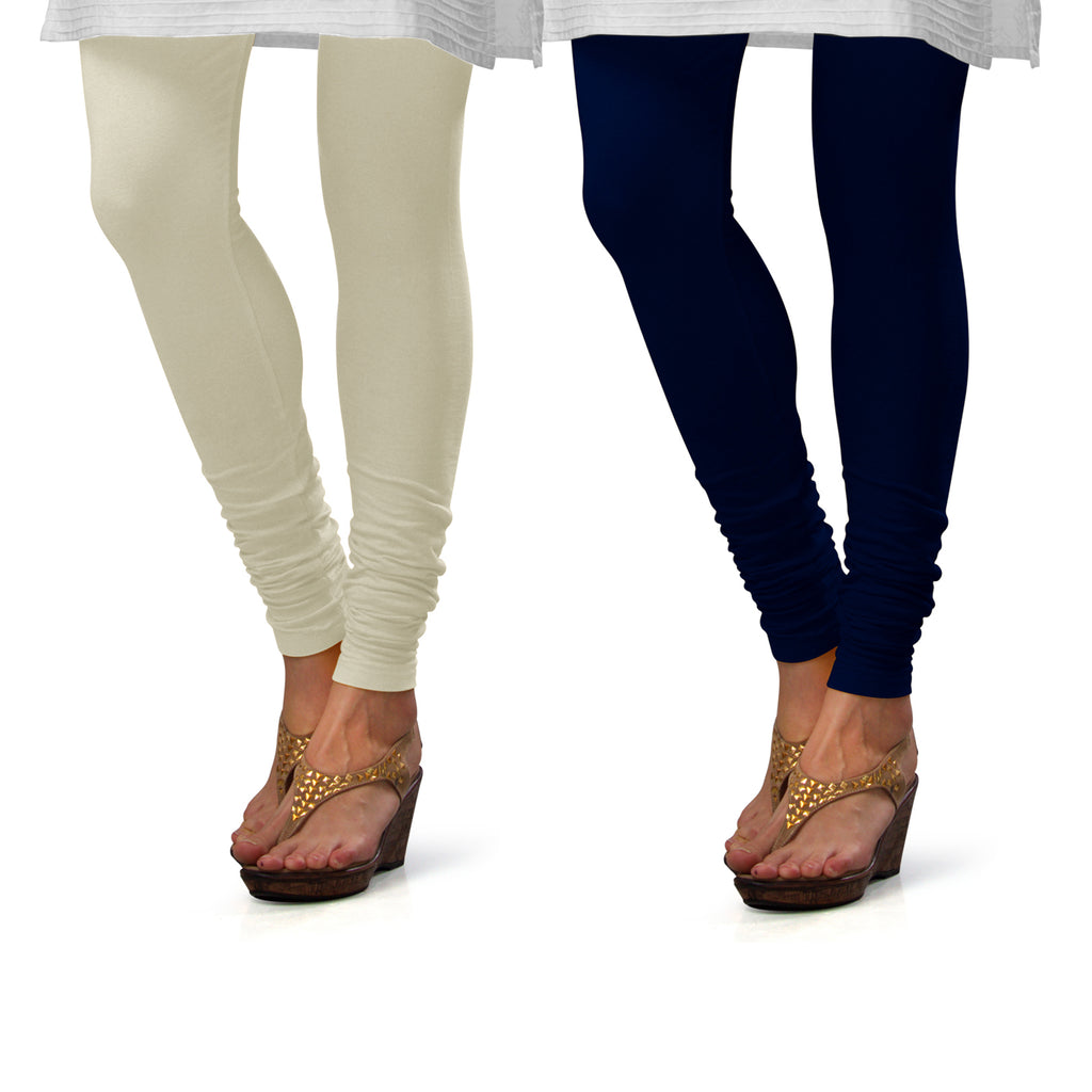 Sirtex Eazy Cotton Lycra Churidar Leggings (Pack of 2) : Off-White & Navy Blue
