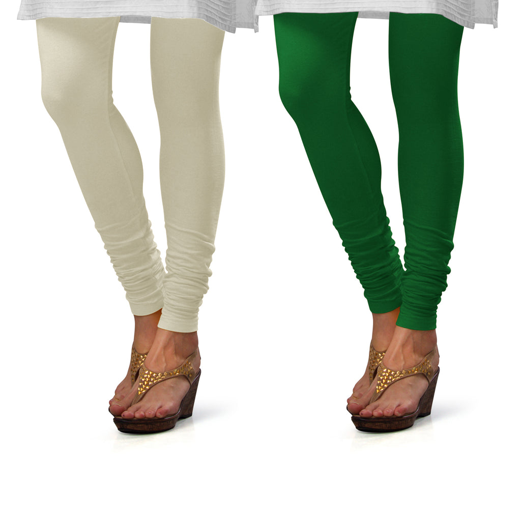 Sirtex Eazy Cotton Lycra Churidar Leggings (Pack of 2) : Off-White & Pak-Green