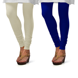 Sirtex Eazy Cotton Lycra Churidar Leggings (Pack of 2) : Off-White & Royal Blue